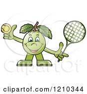 Clipart Of A Guava Mascot Playing Tennis Royalty Free Vector Illustration