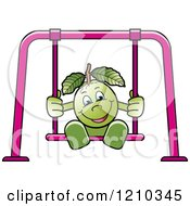 Clipart Of A Guava Mascot On A Swing Royalty Free Vector Illustration