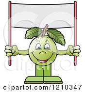 Clipart Of A Guava Mascot Holding Up A Banner Sign Royalty Free Vector Illustration