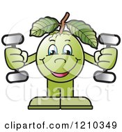 Clipart Of A Guava Mascot Working Out With Dumbbells Royalty Free Vector Illustration