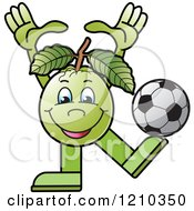 Clipart Of A Guava Mascot Playing Soccer Royalty Free Vector Illustration by Lal Perera