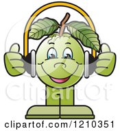 Clipart Of A Guava Mascot Wearing Headphones Royalty Free Vector Illustration by Lal Perera