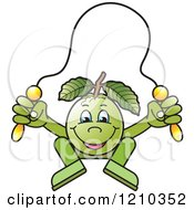 Clipart Of A Guava Mascot Skipping Rope Royalty Free Vector Illustration