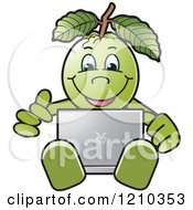 Clipart Of A Guava Mascot Using A Laptop Royalty Free Vector Illustration