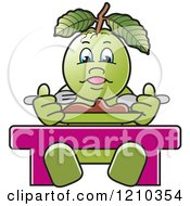 Clipart Of A Guava Mascot Eating Royalty Free Vector Illustration