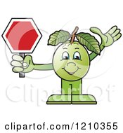Clipart Of A Guava Mascot Holding A Stop Sign Royalty Free Vector Illustration