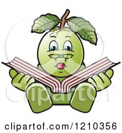 Clipart Of A Guava Mascot Reading Royalty Free Vector Illustration