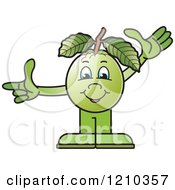 Clipart Of A Guava Mascot Waving And Pointing Royalty Free Vector Illustration by Lal Perera