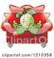 Clipart Of A Guava Mascot Sleeping In A Chair Royalty Free Vector Illustration