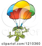 Clipart Of A Guava Mascot Parachuting Royalty Free Vector Illustration
