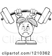 Clipart Of A Black And White Guava Mascot Lifting A Barbell Royalty Free Vector Illustration