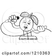 Clipart Of A Black And White Guava Mascot Singing Royalty Free Vector Illustration by Lal Perera