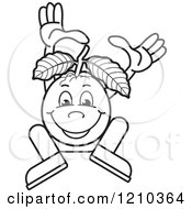Clipart Of A Black And White Guava Mascot Dancing Or Jumping Royalty Free Vector Illustration