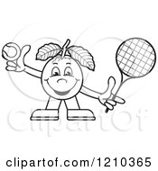 Clipart Of A Black And White Guava Mascot Playing Tennis Royalty Free Vector Illustration