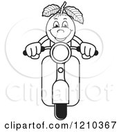 Clipart Of A Black And White Guava Mascot On A Scooter Royalty Free Vector Illustration