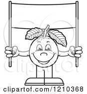 Clipart Of A Black And White Guava Mascot Holding Up A Banner Sign Royalty Free Vector Illustration