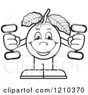 Clipart Of A Black And White Guava Mascot Working Out With Dumbbells Royalty Free Vector Illustration