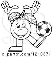 Clipart Of A Black And White Guava Mascot Playing Soccer Royalty Free Vector Illustration