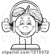 Clipart Of A Black And White Guava Mascot Wearing Headphones Royalty Free Vector Illustration by Lal Perera
