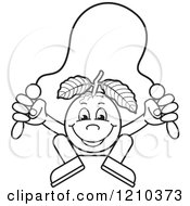 Clipart Of A Black And White Guava Mascot Skipping Rope Royalty Free Vector Illustration