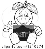 Clipart Of A Black And White Guava Mascot Using A Laptop Royalty Free Vector Illustration