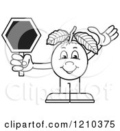 Clipart Of A Black And White Guava Mascot Holding A Stop Sign Royalty Free Vector Illustration