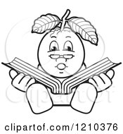 Clipart Of A Black And White Guava Mascot Reading Royalty Free Vector Illustration by Lal Perera