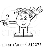 Clipart Of A Black And White Guava Mascot Waving And Pointing Royalty Free Vector Illustration by Lal Perera