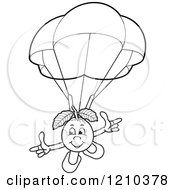 Clipart Of A Black And White Guava Mascot Parachuting Royalty Free Vector Illustration by Lal Perera