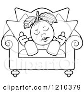 Clipart Of A Black And White Guava Mascot Sleeping In A Chair Royalty Free Vector Illustration by Lal Perera