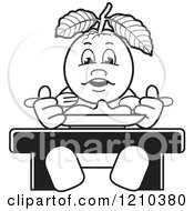 Clipart Of A Black And White Guava Mascot Eating Royalty Free Vector Illustration by Lal Perera