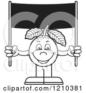 Clipart Of A Black And White Guava Mascot Holding A Banner Sign Royalty Free Vector Illustration by Lal Perera