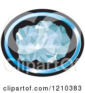 Clipart Of A Chunk Of Diamond In A Blue And Black Oval Royalty Free Vector Illustration