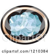 Clipart Of A Chunk Of Diamond In A Copper And Black Oval Royalty Free Vector Illustration