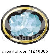 Clipart Of A Chunk Of Diamond In A Gold And Black Oval Royalty Free Vector Illustration