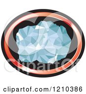Clipart Of A Chunk Of Diamond In A Red And Black Oval Royalty Free Vector Illustration