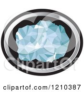 Clipart Of A Chunk Of Diamond In A Silver And Black Oval Royalty Free Vector Illustration