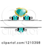 Clipart Of A Gold Turquoise And Black Wedding Design Element Royalty Free Vector Illustration