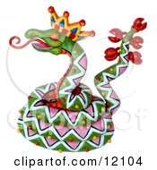 Clay Sculpture Of A Decorative Rattle Snake Sticking Out His Tongue Clipart Picture