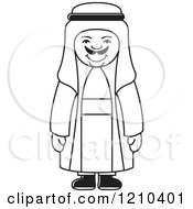 Clipart Of A Black And White Happy Arabic Man Royalty Free Vector Illustration by Lal Perera