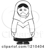 Clipart Of An Unhappy Black And White Arabic Woman Royalty Free Vector Illustration by Lal Perera