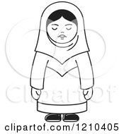 Clipart Of A Black And White Happy Arabic Woman Royalty Free Vector Illustration by Lal Perera