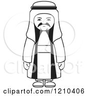 Clipart Of A Black And White Unhappy Arabic Man Royalty Free Vector Illustration by Lal Perera