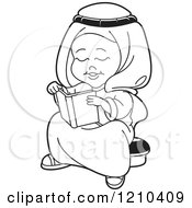 Clipart Of A Black And White Happy Arabic Kid Reading A Book Royalty Free Vector Illustration by Lal Perera