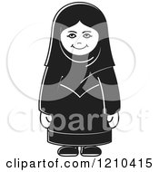 Clipart Of A Smiling Blak And White Arabic Woman Royalty Free Vector Illustration by Lal Perera