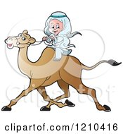 Clipart Of A Happy Arabic Kid Riding A Camel Royalty Free Vector Illustration