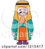 Clipart Of A Unhappy Arabic Man Royalty Free Vector Illustration by Lal Perera