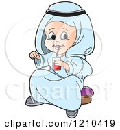 Clipart Of A Happy Arabic Kid Drinking Juice Royalty Free Vector Illustration