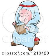 Clipart Of A Happy Arabic Kid Reading A Book Royalty Free Vector Illustration