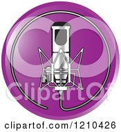 Clipart Of A Retro Silver Microphone And Wire Circle On A Purple Icon Royalty Free Vector Illustration by Lal Perera